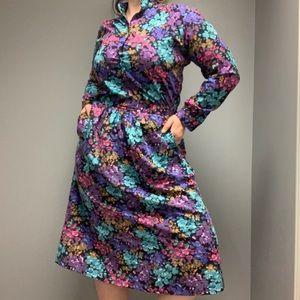 Vintage (set) Women's Long Sleeve Floral Skirt Set